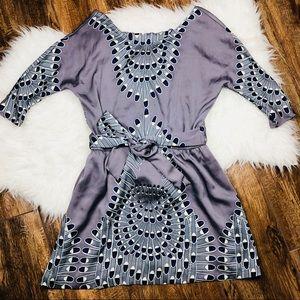 Mara Hoffman • Grey Feather Print Silk Mini Dress